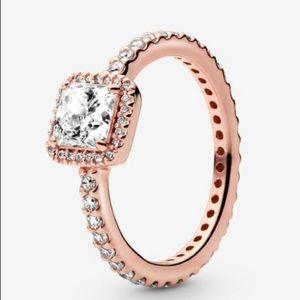 Pandora Square Sparkle Halo Rose Gold Ring. Size 5